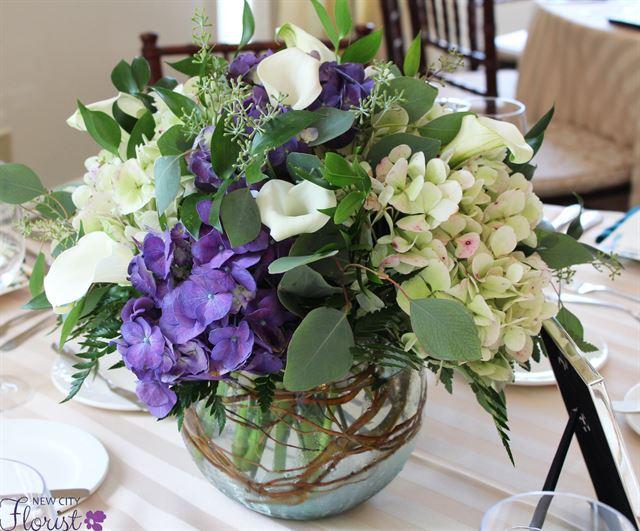 Peachy New City Florist Hydrangea And Calla Lily Centerpiece Download Free Architecture Designs Scobabritishbridgeorg