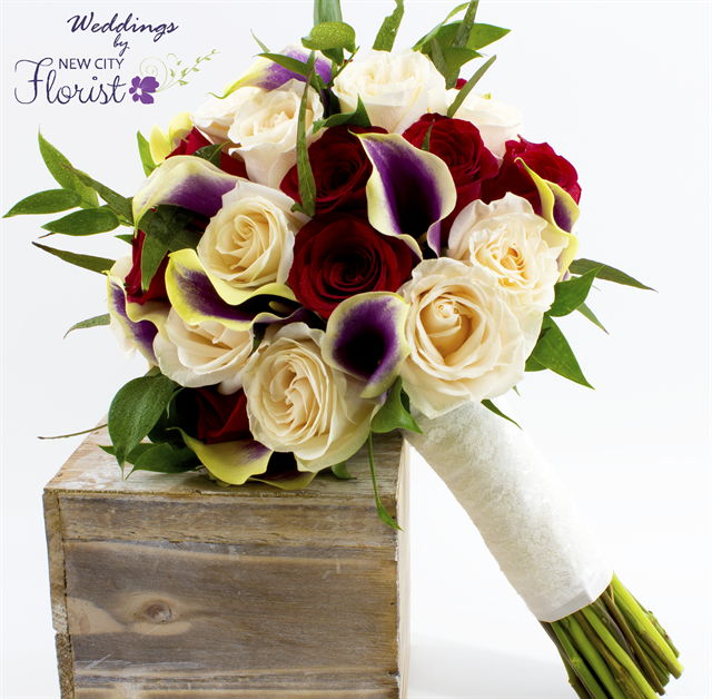 New City Florist White Red Rose Purple Calla Lily Bouquet