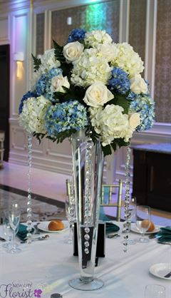 New City Florist Blue And White Tall Centerpiece